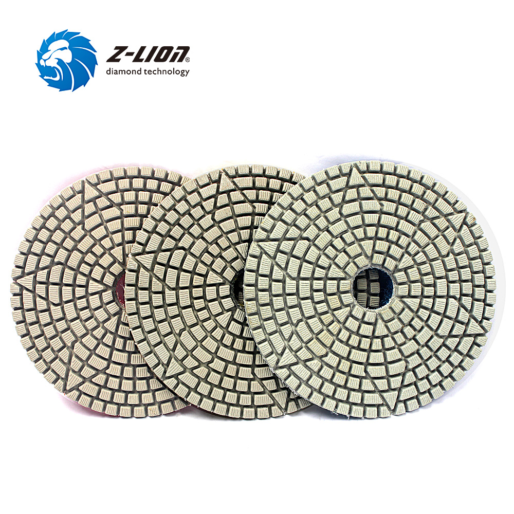 Z-Lion 3 Step Polishing Pad 4 Inch 100mm Abrasive Disc Wheel Diamond Tool For Stone Marble Granite Tile Flexible Grinding