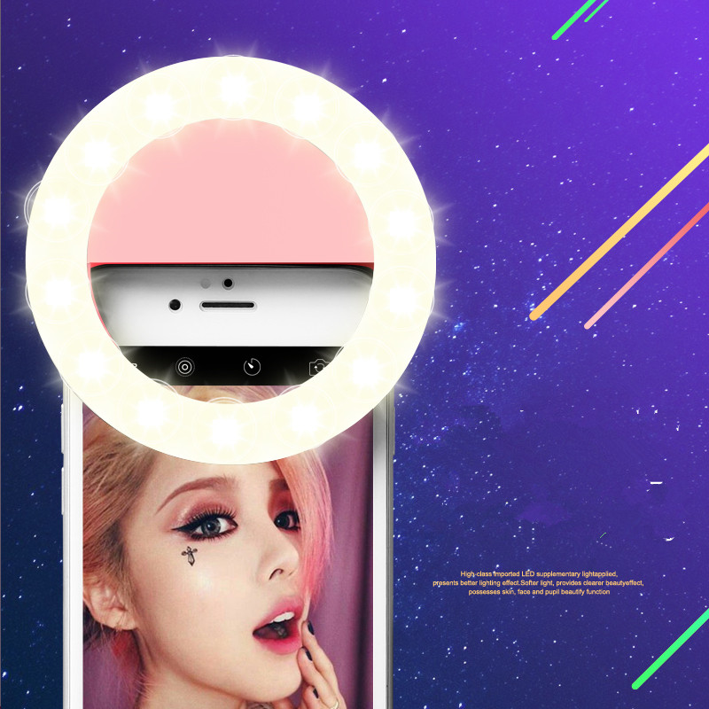 Hohe qualität Ring Selfie Light Up Fotografie Leucht Lampe LED 3 Helligkeit für iPhone Samsung Telefon auf clip