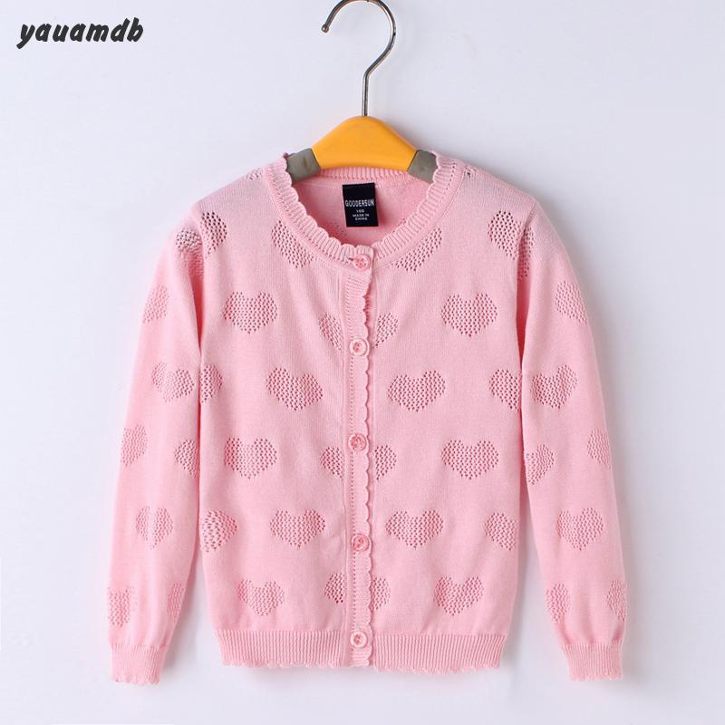 YAUAMDB kid sweater 2017 autumn spring grils boys 3-10Y cotton children clothes cardigan solid print lovely brand clothing Y30