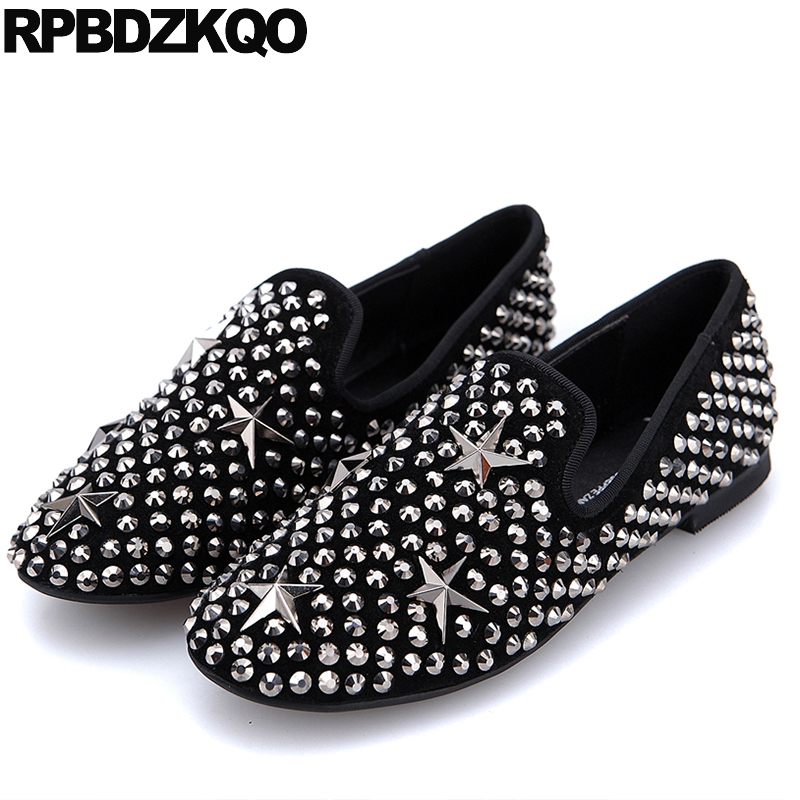Genuine Leather Designer Shoes Women Luxury 2017 Ladies Stud Flats Black Large Size Star Round Toe Slip On Fashion European buckle straps embellished women pu leather flat heel shoes korean fashion new 2017 ladies slip on designer flats round toe