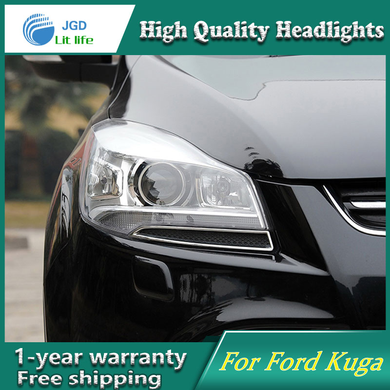 Car Styling Head Lamp for Ford Kuga Headlights 2014-2016 LED DRL H7 D2H Hid Option Angel Eye lens fog light Bi Xenon Beam union car styling for renegade headlights for renegade hid head lamp angel eye led drl front light for jeep renegade hid lamp