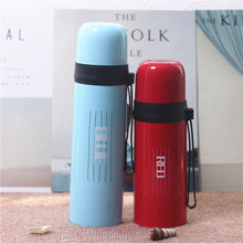 Brief Fashion Thermo Mug Stainless Steel Vacuum Flask Male Female Students Plastic Hanging Outdoor Sports Portable Water Bottle
