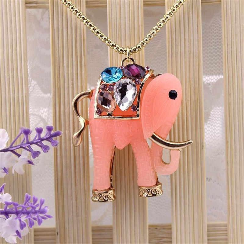 Miễn phí vận chuyển phụ nữ thời trang đồ trang sức mới Đá Quý Tổng Hợp Hollow Elephant Red Green Phụ Nữ Mặt Dây Chuyền Necklace Trang Sức phụ kiện