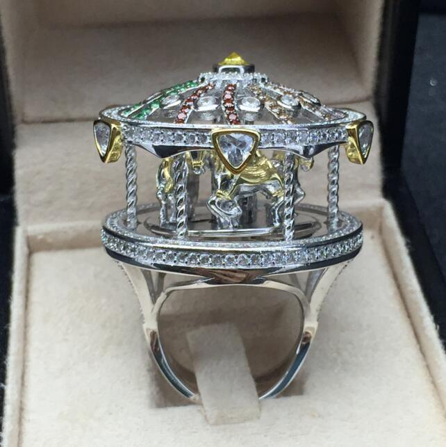Luxurious Rotation Carousels Horse Ring Women Engagement Jewelry Silver Ring Zircon Female Wedding Party Finger Accessories