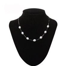 2016 de La Moda de Joyería de Perlas Collar 925 Joyería de Plata Esterlina Para Las Mujeres de La Perla Natural 8-9mm Gota de Agua Babysbreath Regalo