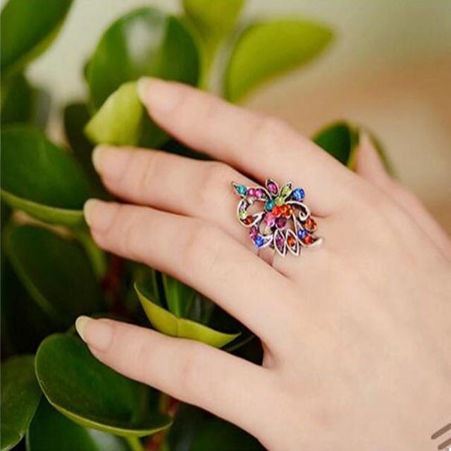 Hot Sale Color imitation crystal peacock butterfly ring tide three-dimensional h