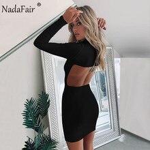 Nadafair Turtleneck Long Sleeve Women Backless Bodycon Sexy Dress 2019 Autumn Re