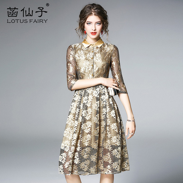 ae076dcd3a57 Solid Gold embroidery Floral Half sleeve Lace dress women A-Line Light  luxury Vintage office lady gown beauty high waist dresses