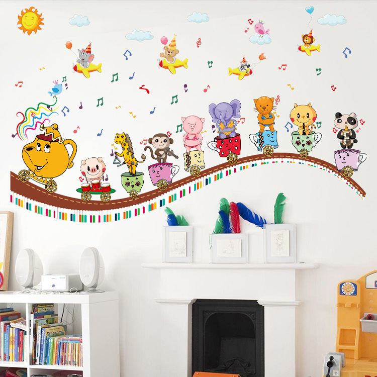 Removable Happy Day Children Wall Stickers Train Decals