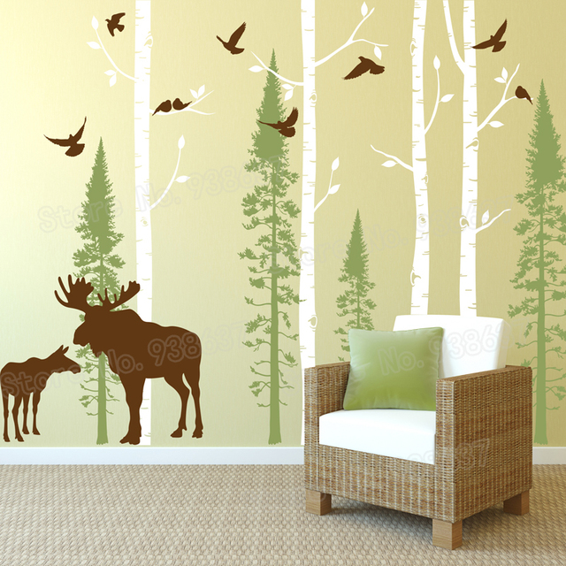 Moose and Birch Tree Wall Decal Living Room Home Decor Birch and Fir Forest Vinyl Wall Stickers Bedroom Birds Decals Mural ZB573 : decals wall forest - www.pureclipart.com