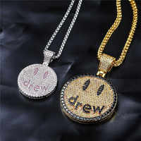 Hip Hop Jewelry Drew Smiling Face Pendant Necklace For Men Women New Arrival Micro Pave Colorful Zircon Lovers Necklace