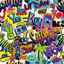 HUAYI Fotografia Fundo Graffiti Parede Backdrops 90's 80 s Aniversário Festa Hip Hop XT-7160 Estúdios de Fotografia de Pano de Fundo para a Fotografia