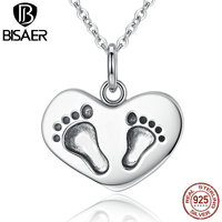 Mother Gift 925 Sterling Silver Engrave Lucky To have A Mom Like You Baby's Feet Pendant Necklaces Silver Jewelry ECN067