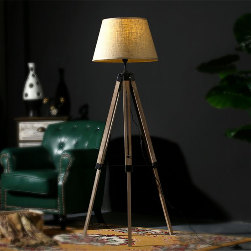 Rustic Wooden Tripod Floor Lamp Fabric Lampshades Classical Chinese Light  Living Room Stand Lamps Modern Contemporary FL 18 In Floor Lamps From Lights  ... Part 83
