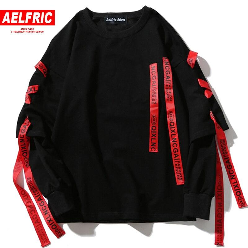 AELFRIC ฤดูใบไม้ร่วง Hoodies เสื้อผู้ชาย Hip Hop Punk ROCK แขนยาว Streetwear ริบบิ้น 2018 แฟชั่นเสื้อ Harajuku Hoodie OF071-ใน เสื้อฮู้ดและเสื้อกันหนาว จาก เสื้อผ้าผู้ชาย บน AliExpress - 11.11_สิบเอ็ด สิบเอ็ดวันคนโสด 1