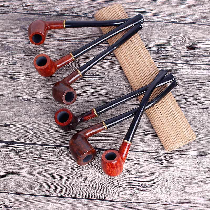 Long Rod Stone Wood Classic 3MM Filter Flame Stone Heather Wood Pipe