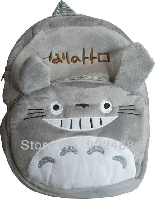 FreeShipping New Cute Movie Totoro Kids Children 3D Plush School Bags Backpack