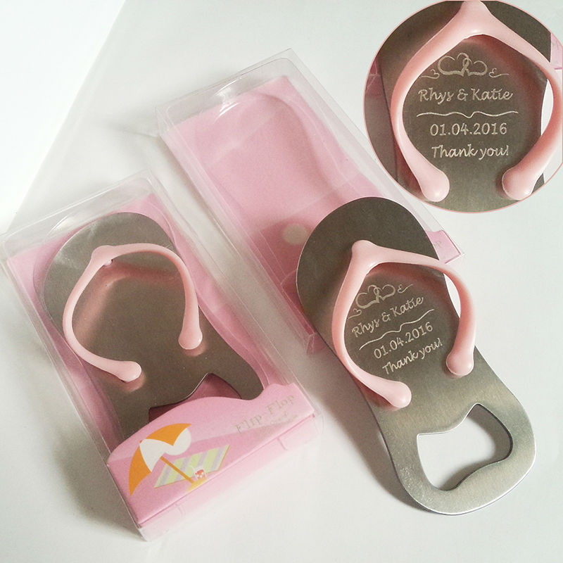 Personalized Beach Wedding Gifts: 50pcs Pink Flip Flop Sandal Bottle Opener In Gift Box