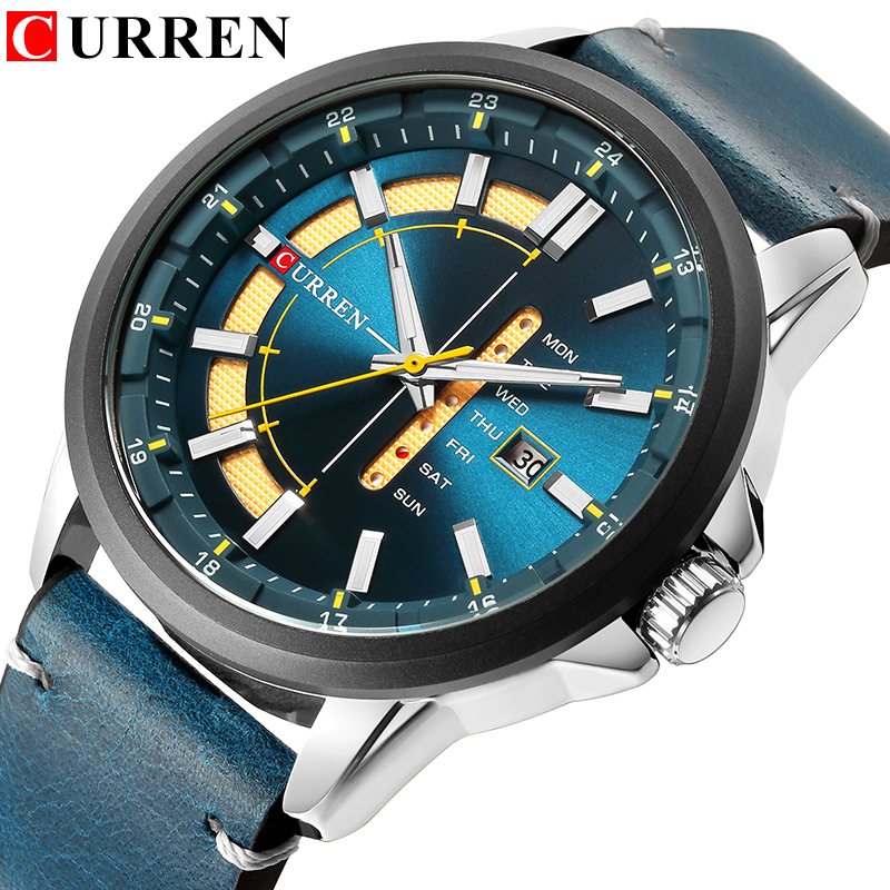 Top Brand Mens Quartz Watches Blue Creative Unique Fashion Design Wrist watch Leather Strap Date Week Clock Reloj Male