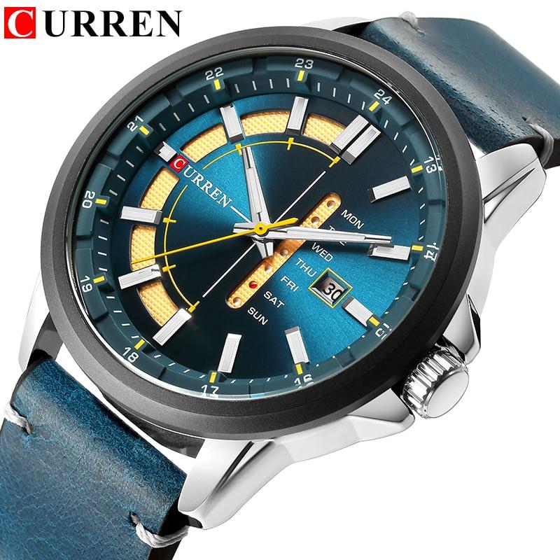 Top Brand Mens Quartz Watches Blue Creative Unique Fashion Design Wrist watch Leather Strap Date Week Clock Reloj Male