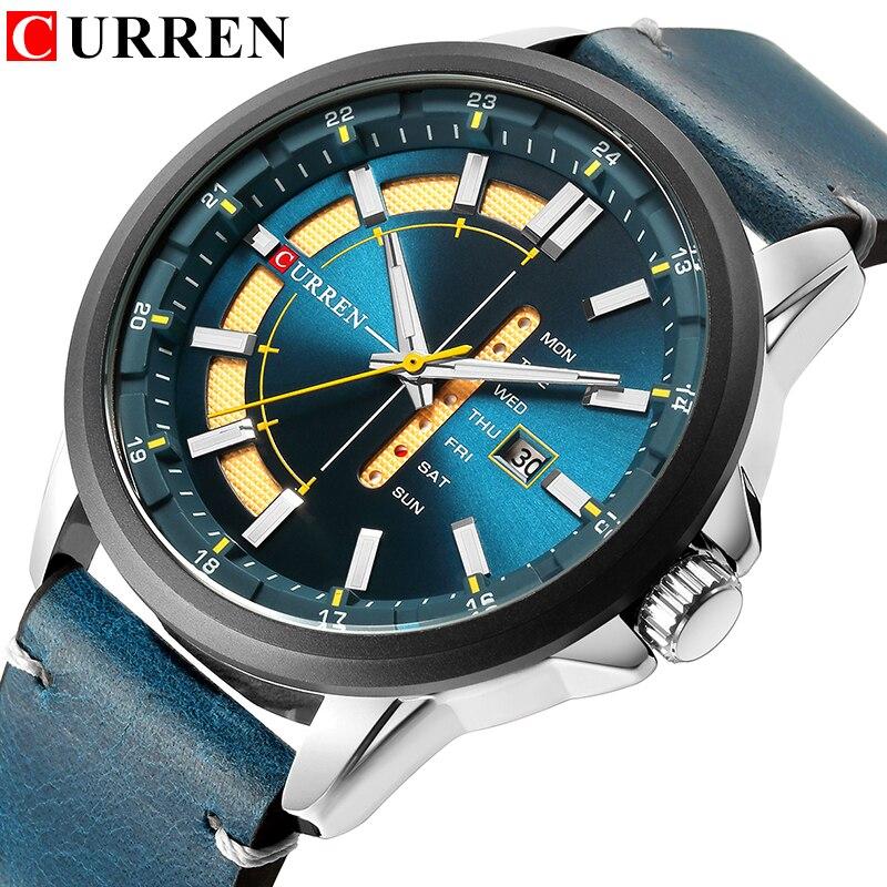 Top marca hombre relojes de cuarzo azul creativo único diseño de moda Reloj correa de cuero fecha semana Reloj hombre