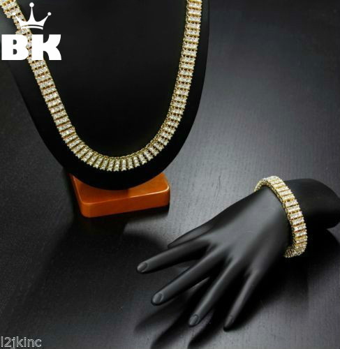 High Quality Men s Gold Color Hip Hop Jewelry Set Iced Out 30 3 Row Rhinestone