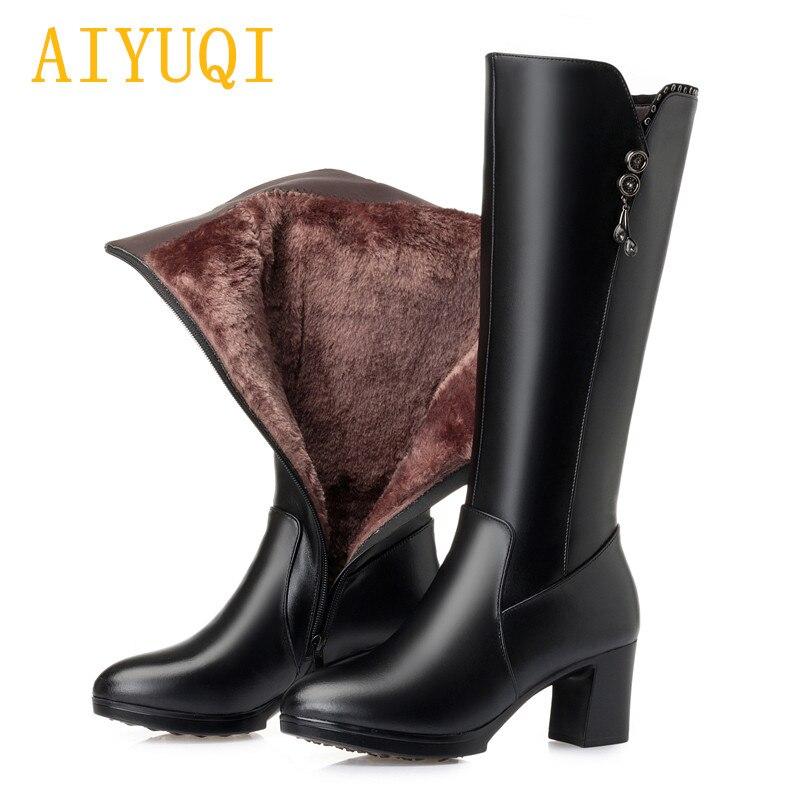 Mujeres 2019 Las Mujer Zapatos Genuino De Moda Fluff Cuero Aiyuqi Wool black Black Invierno Botas Nieve Nueva Tacón Alto xI8qnAgX