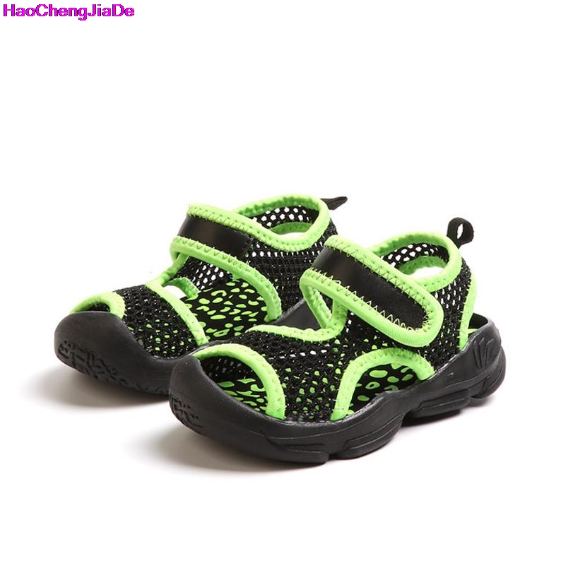 HaoChengJiaDe Summer Boys Beach Sandals Kids Shoes Closed Toe Sandals For Girls Cut Out Non-Slip Breathable Flats Shoes Sandals