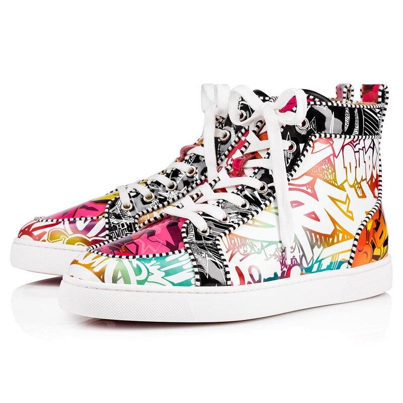 As Botas Zapatos Para diseñador Deporte Del Show Nuevo Unisex Zapatillas La Hombre De Moda Impresión Mezclado Alta Casuales Graffiti Encaje Tobillo Plataforma wHzvRqWPEg