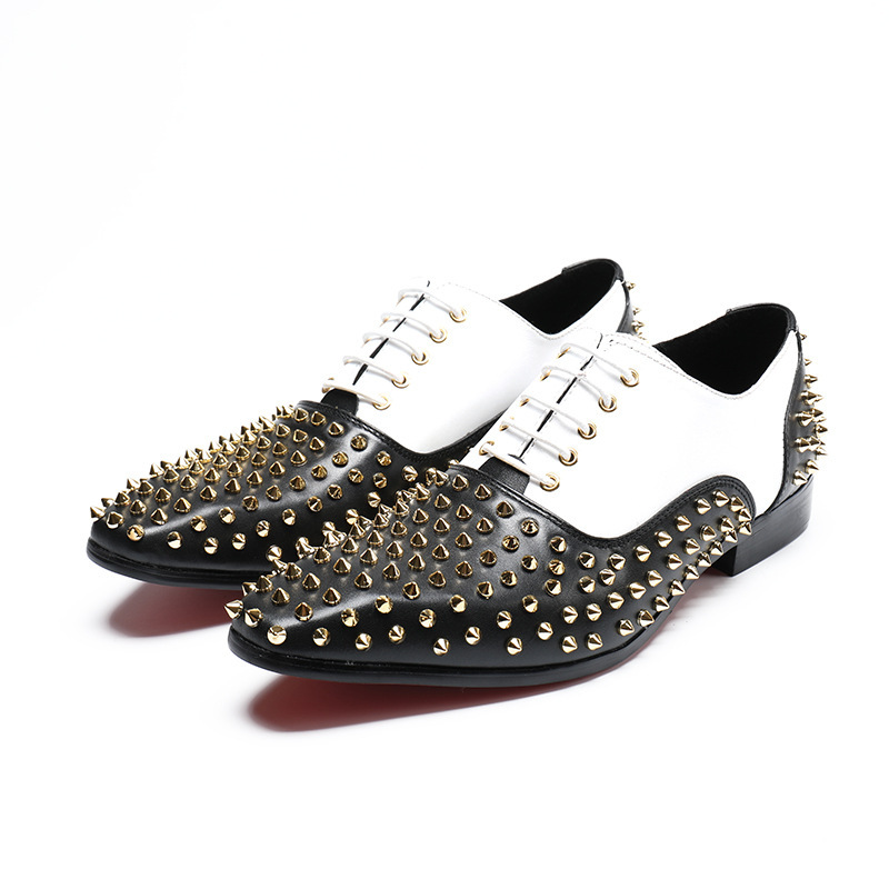 Gold Metal Studded Loafers Men's Flats Dress Shoes Loafers Shoes Men With Rivets