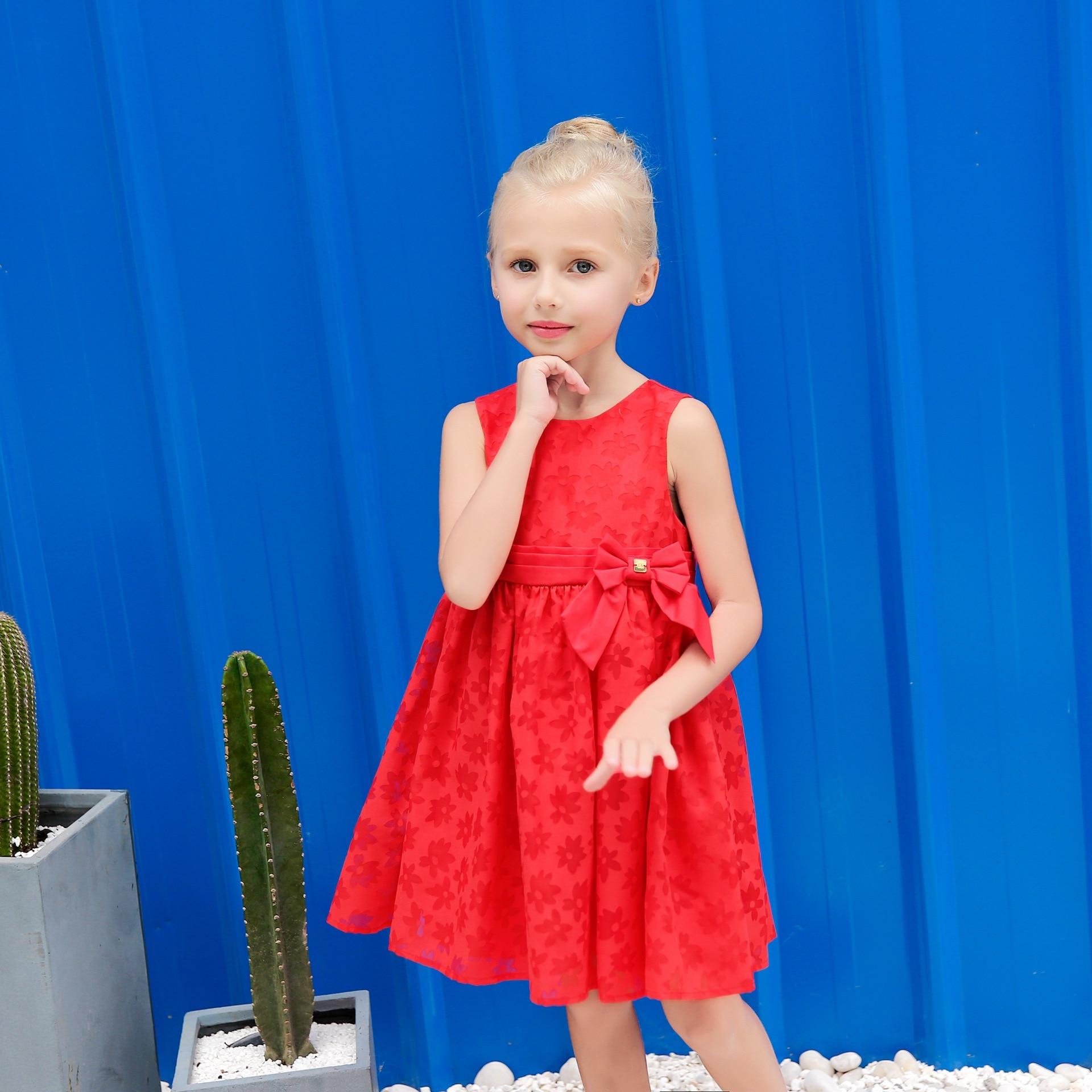 Zomer nieuwe kinderjurk Effen kleur Rood Kindermeisjes Jurken - Kinderkleding - Foto 3