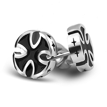 Ajojewel Stainless Steel Punk Cross Stud Earrings for Men Trendy Party Enamel Black Cocktail  Jewelry Women