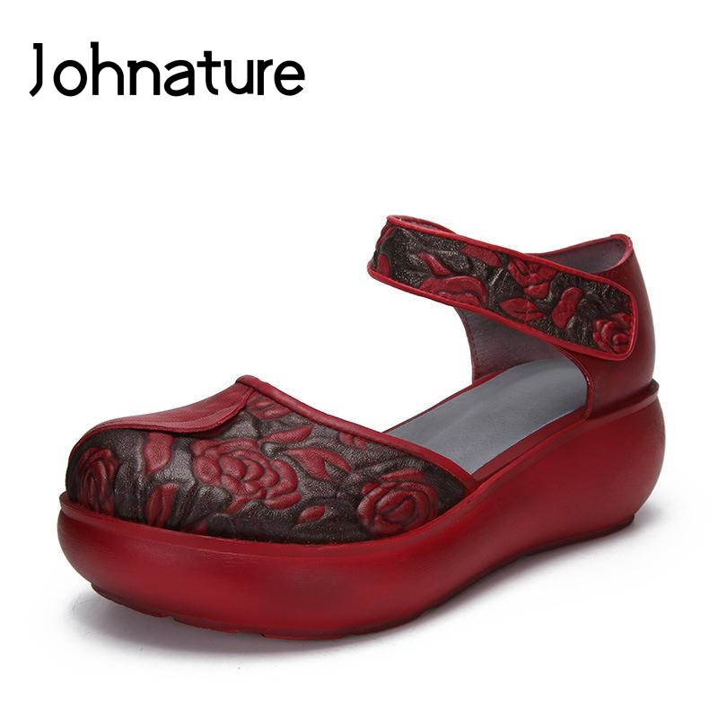 Johnature 2019 New Summer Retro Genuine Leather Totem Hook Loop Ankle Strap Shoes Women Wedges Sandals