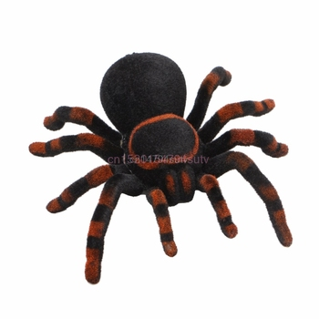 Remote Control Soft Scary Plush Creepy Spider Infrared RC Tarantula Kid Gift Toy #H055# new remote control scary creepy simulation realistic spider 2 channel infrared rc model toy prank kid gift fswob