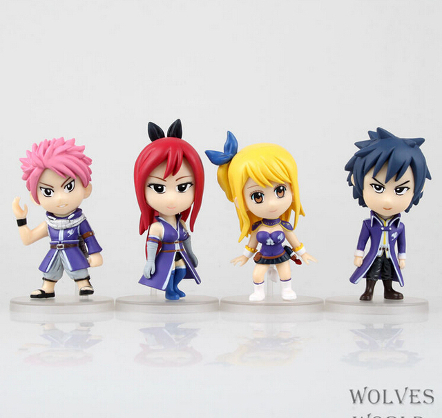 4pcs/set Fairy Tail Natsu Lucy Elza Gray Action Figure PVC Collection figures toys for christmas gift brinquedos