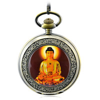 Buddha Mechanical Hand Wind Pocket Watch Men Skeleton Hollow Bronze Vintage Hand Wind Clock Necklace Pocket & Fob Watches Chain