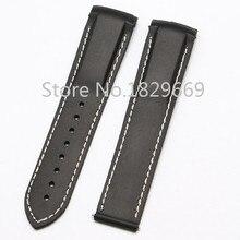 22 mm ( Buckle 20 mm ) nuevos Mens negro buceo impermeable de caucho de silicona correa correas sin hebilla