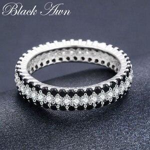 Image 4 - [BLACK AWN] Anillo de Plata de Ley 925 Vintage para mujer, espinela negra redondos de anillos de compromiso, joyería de plata de ley C443