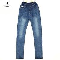 Wysokiej Jakości 2017 Nowe Dzieci Chłopcy Prosty Styl Elastyczny Pas miękkie Spodnie Jeansowe Spodnie Jeansowe Spodnie Dla Chłopców Nastolatkami Wiek 13-17Yrs