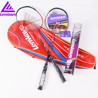 Lenwave Badminton Racket 1 Pair Aluminum Alloy One Badminton Racquet With One Bucket Free Of Charge