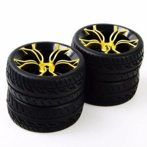 Image 5 - Neumáticos de coche a control remoto, neumático de caucho y Llanta de rueda, modelo de juguetes, 4 Uds., neumáticos y ruedas para HSP HPI RC 1:10, coche de carreras plano PP0150 + MPNKG