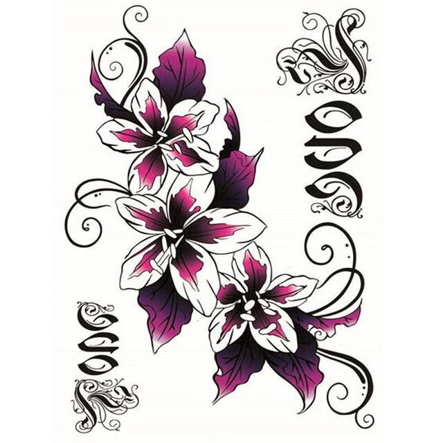 d549298d222db Yeeech Temporary Tattoos Sticker for Women Fake Flower Lilies Designs Sexy  Back Abdomen Belly Scar Decal Long Lasting Body Art