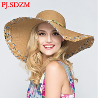 PJ.SDZM Summer Women Wide Brim Beach Hat Colorful Cool Sun Hats UV Protection Bowknot Straw Hat