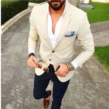 Custom Made Mens Suits Beige Blazer Navy Blue Pants 2 Piece Groom Tuxedos Slim Fit Men Wedding Prom Party Suit (Jacket+Pants)