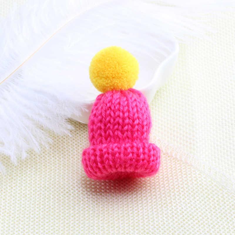 Đầy màu sắc Mini Hat Trâm Cài Áo Len Cổ Áo Thời Trang Dễ Thương Brooch đối với Phụ Nữ Và Trẻ Em Dệt Kim Hairball Phù Hiệu Chân Quần Áo Đồ Trang Sức