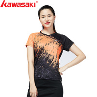 Kawasaki Brands 2018 New Red Blue Badminton Clothes Sportswear Shirts For Women V Neck Breathable Bright Color Badminton Sport
