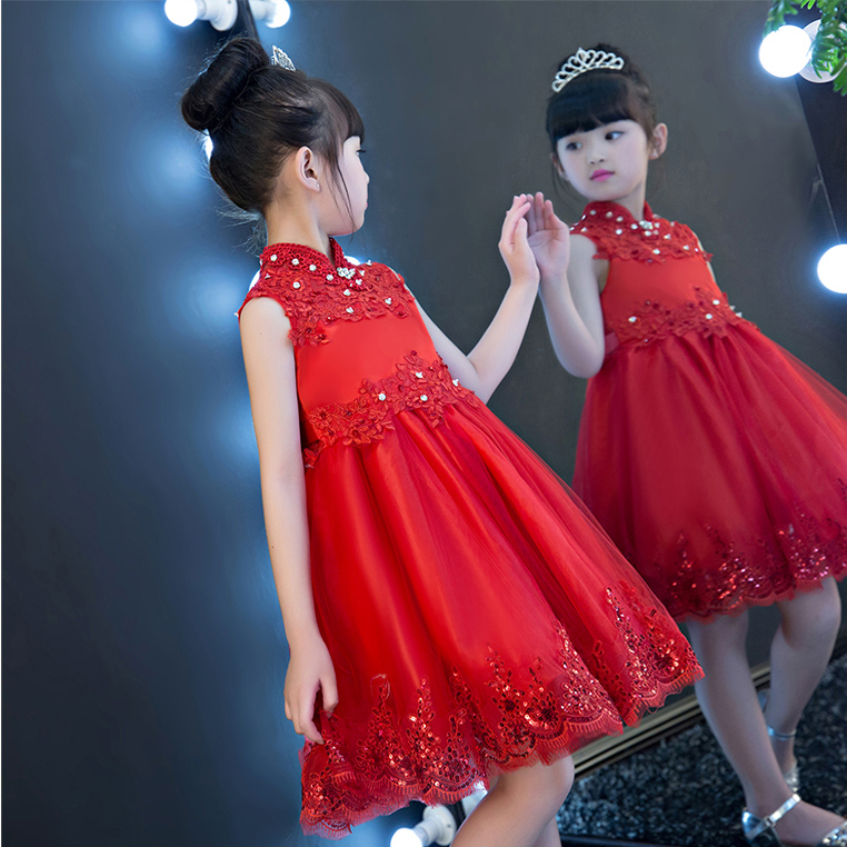 2017New China Traditional Red Color Girls Children Princess Dress Embroidery Lace Wedding Birthday Party Ceremony Dress For Kids 2017 new high quality girls children white color princess dress kids baby birthday wedding party lace dress with bow knot design