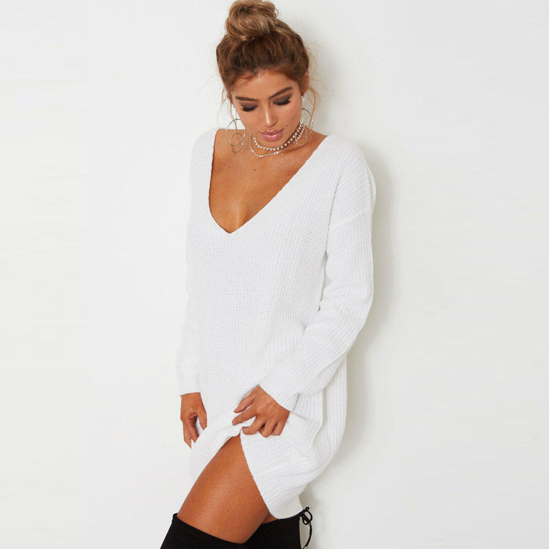 c009bf857960 Autumn winter ladies Christmas sweater dress Knitted long korea Sweater  women white casual Pullovers female Jumper oversized-in Pullovers from  Women's ...
