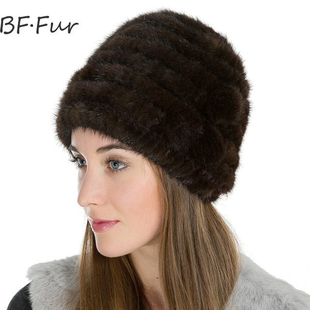 BFFUR Russian Winter Warm Beanies For Girl Real Mink Fur Hat Natural Animal  Fur Cap Fashion Solid Color Bonnet Women Winter Hats cbf4577b440a