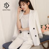 New Arrival Women's Solid Roll Up Sleeve Double Breasted Blazer & Pants Elegant Office Lady Basic Suits Plus Size Hots S87446X